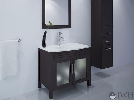 ludwig single bathroom vanity modern sleek design style top most best affordable value money saving discount minimal dark black espresso jwh living trade winds imports glass doors frosted integrated counter ceramic