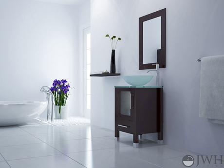 soft focus single vessel sink vanity modern sleek design style top most best affordable value money saving discount minimal space saving efficient small bathroom dark black espresso jwh living trade winds imports glass door basin