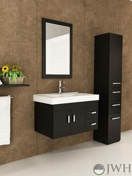 lyra single wall mounted bath vanity modern sleek design style top most best affordable value money saving discount minimal floating space saving efficient small bathroom integrated dark black espresso