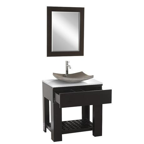 zen single vessel sink bathroom vanity modern sleek design style top most best affordable value money saving discount minimal saving efficient small bathroom integrated dark black espresso trade winds imports asian chinese japanese counter ceramic