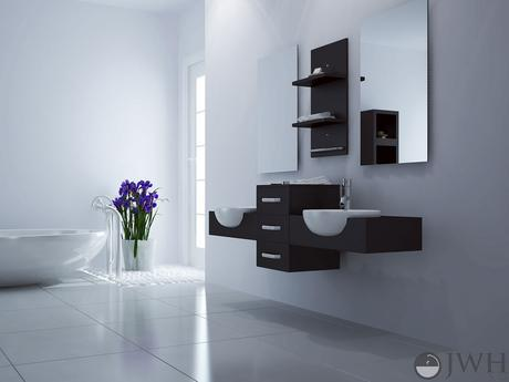 modus double floating bath vanity modern sleek design style top most best affordable value money saving discount minimal floating wall mounted space saving efficient small bathroom integrated dark black espresso jwh living trade winds imports