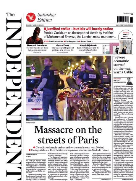 Paris Carnage: The Front Pages tell a Story of Horror