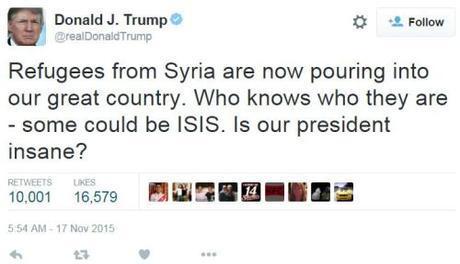 Trump Syrian refugees tweet