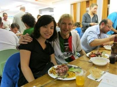 Panny and I on Shabbat Dinner night in Jerusalem, Israel
