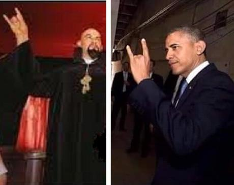 Anton LaVey & Obama make devil's horns handsign