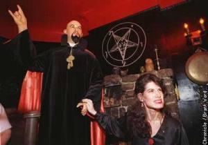 Anton LaVey, founder of Church of Satan, makes devil's horns sign