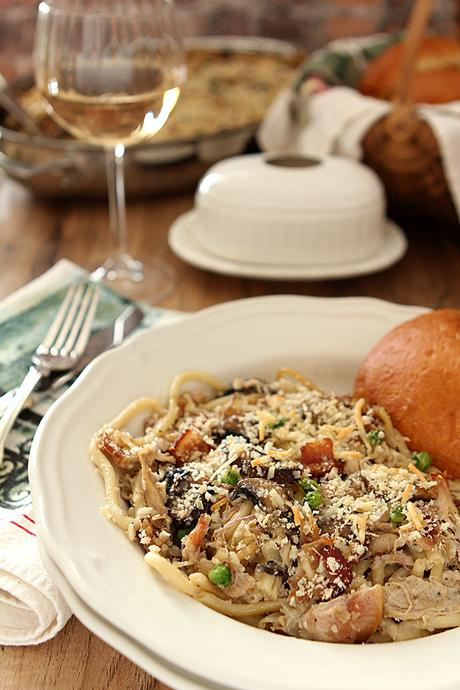 The Best Turkey Tetrazzini has Mushrooms, Bacon, Garlic and Herbs