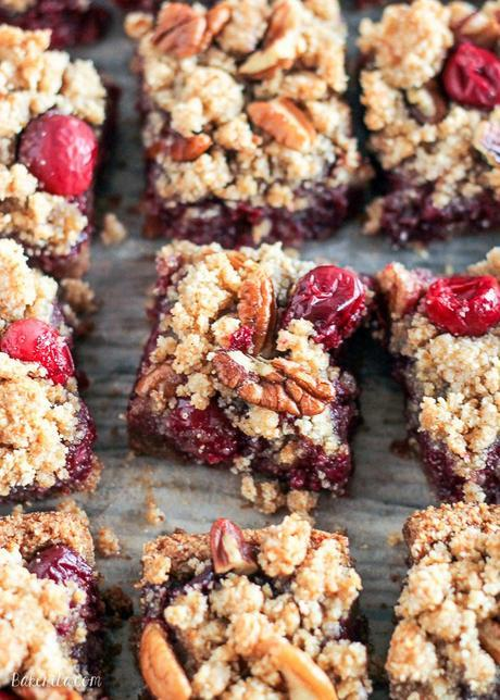 These Paleo Cranberry Crumb Bars use leftover cranberry sauce to make an irresistible gluten-free, refined sugar-free, and vegan dessert. The crumb mixture doubles as the crust and crumb topping.