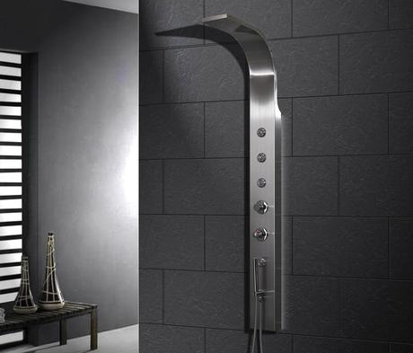 ravana shower panel fixtures head design modern sleek futuristic luxury rainfall waterfall chromatherapy bathroom design