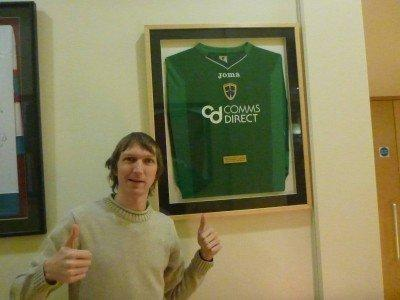 Posing beside Josh Magennis's Cardiff City goalkeeper shirt.