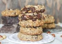Nutella Stuffed Oatmeal Hazelnut Chocolate Chip Cookies