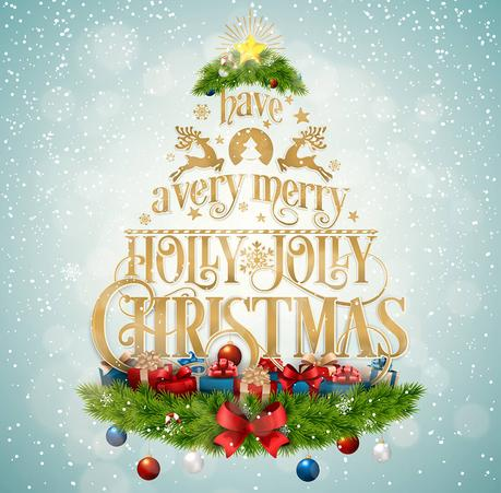 Merry christmas amp happy new year vector design