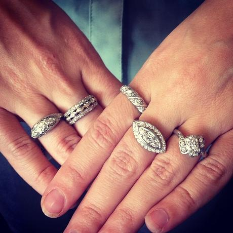 Vintage white gold and diamond rings