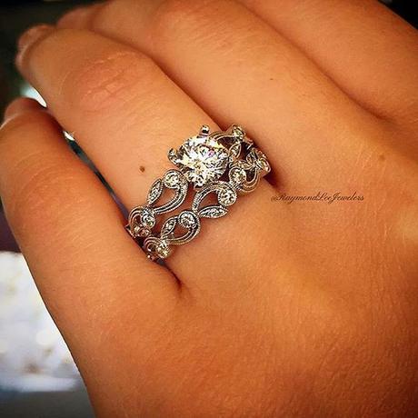 Floral Engagement Ring Stack