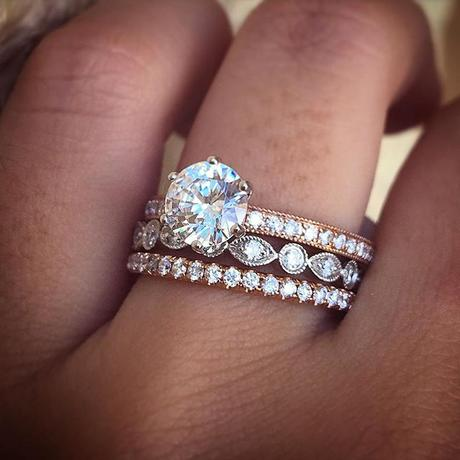 rose gold engagement ring stack