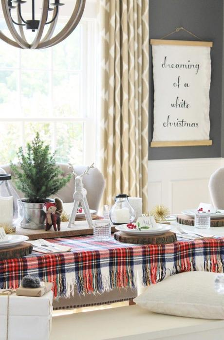 Winter Flower Arrangements Holiday Tablescapes Plaid Tablecloth