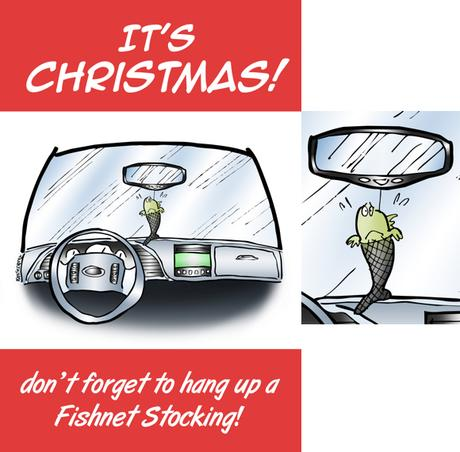 Humorous Christmas card car interior fish in fishnet stocking air freshener don't forget to hang up a fishnet stocking