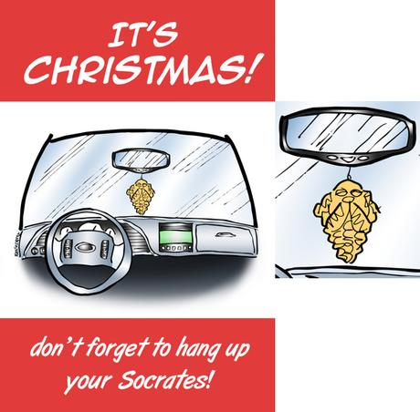 Humorous Christmas card car interior little Socrates ornament hanging from rearview mirror don't forget to hang up your Socrates