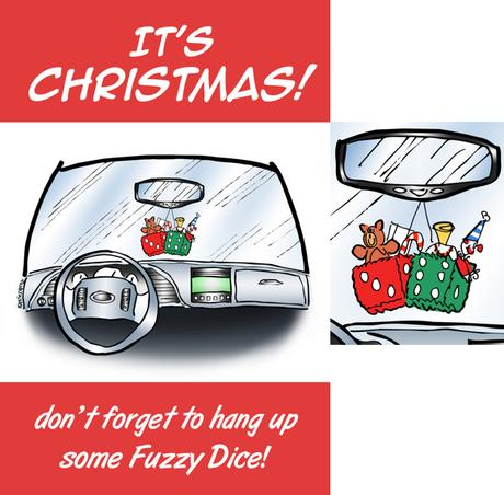 Humorous Christmas card car interior fuzzy dice on rearview mirror hung like Christmas stockings filled with presents don't forget to hang up some fuzzy dice