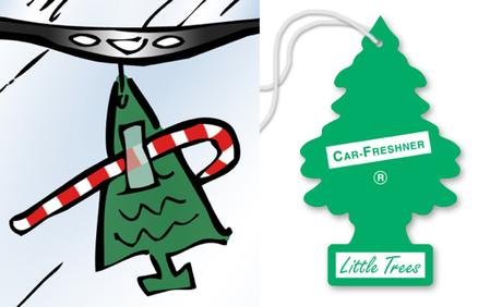 Compare between cartoon pine tree car air freshener and official Car-Freshener Little Trees registered trademark pine-scented air freshener