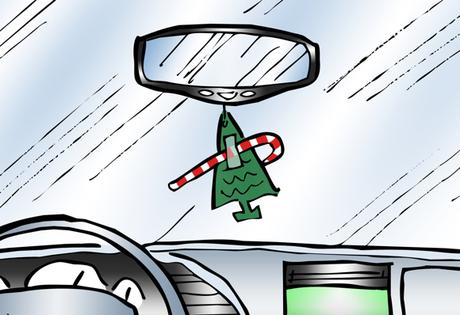 detail image Humorous Christmas card car interior candy cane taped to pine tree air freshener it's Christmas don't forget to decorate your tree