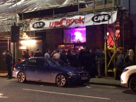 Punters outside the new Up the Creek extension last night