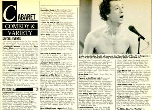 Time Out listings from 1986 featuring an even-younger-than-now Arthur Smith