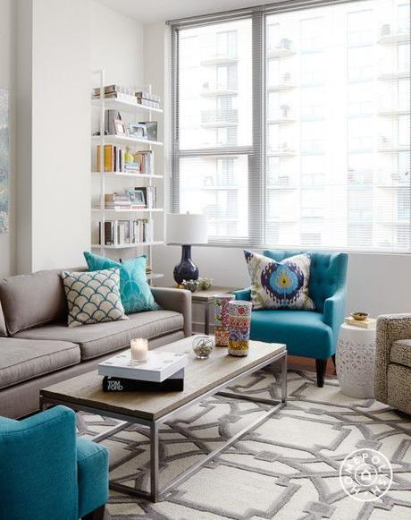 A Bold, Rental-Friendly Redesign in Chicago - The strong patterned area rug from <a href=