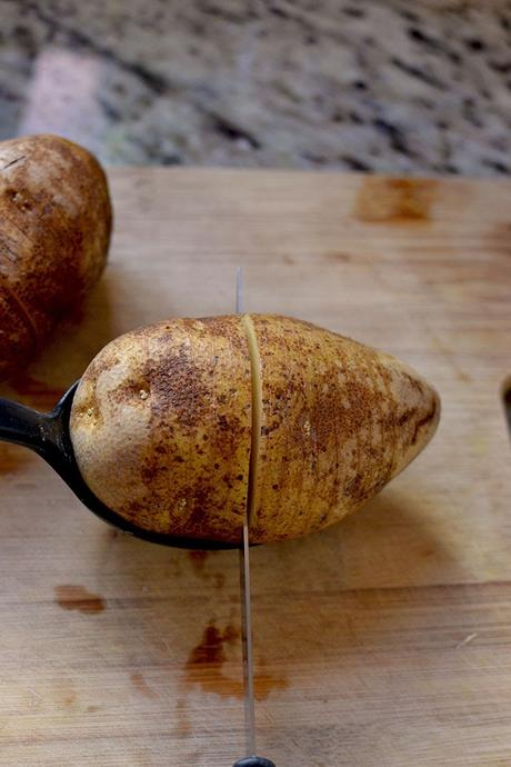How to slice a potato for Hasselback potatoes