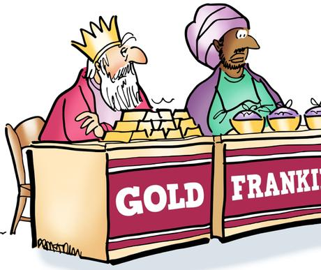 detail image Magi three Wise Men at craft fair tables selling gold frankincense myrrh Charles Dickens Oliver Twist with bowl asking can I have some more myrrh