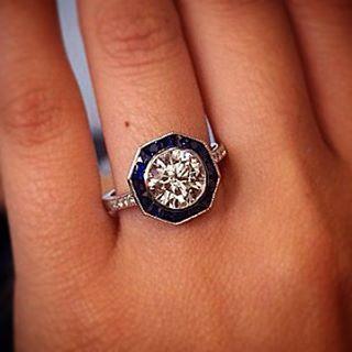 Sapphire diamond halo