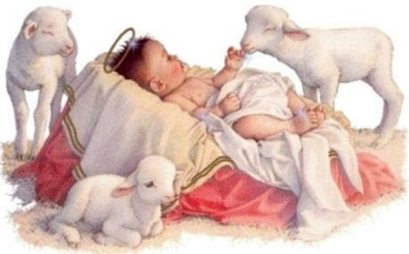 Baby Jesus with lambs