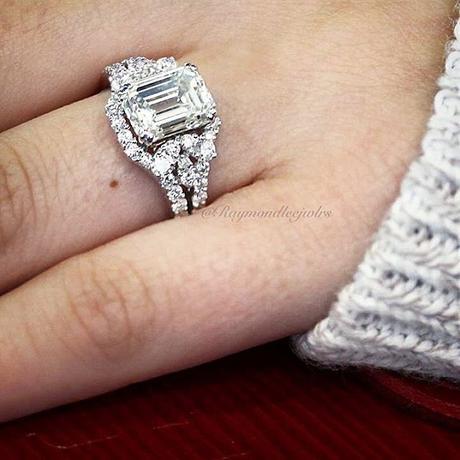 18k White Gold GIA 3ct Emerald Cut Diamond Engagement Ring