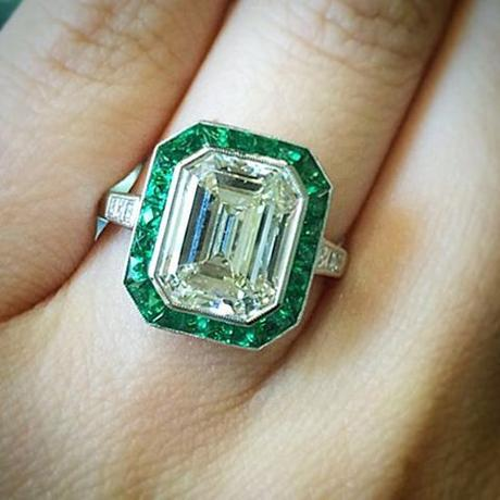 Emerald and emerald cut engagement ring