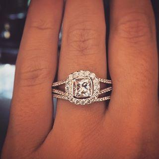 Aever & Ever cushion cut halo engagement ring
