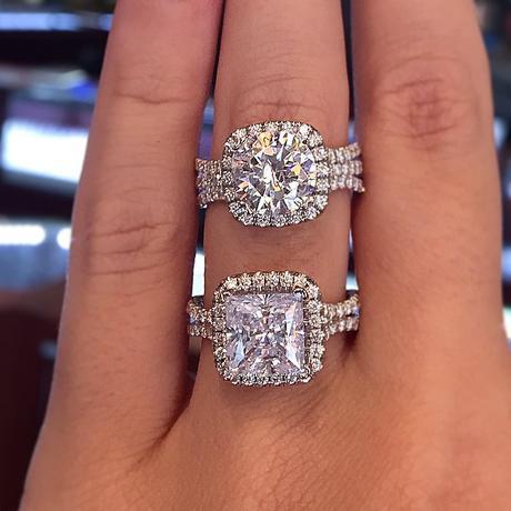 Uneek triple and split shank halo engagement rings