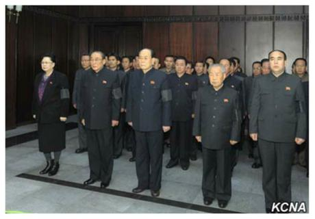 Kim Yong Nam (3rd L), SPA Presidium President and other members of the SPA Presidium pay their respects to Kim Yang Gon at the Sojang Club in Pyongyang on December 30, 2015 (Photo: KCNA).