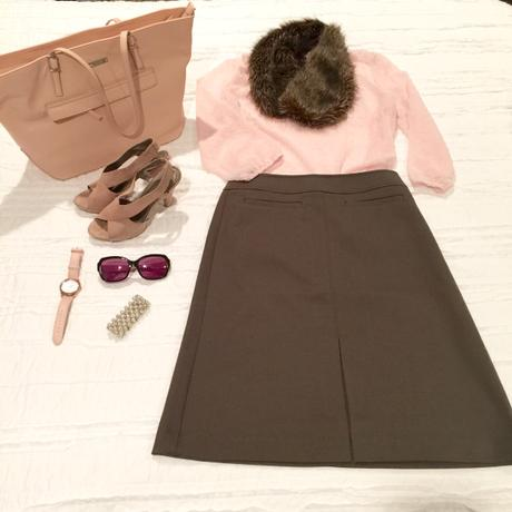 pink top gray skirt