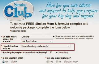 Image: I signed up to the formula companies, checking off that I would be exclusively breastfeeding