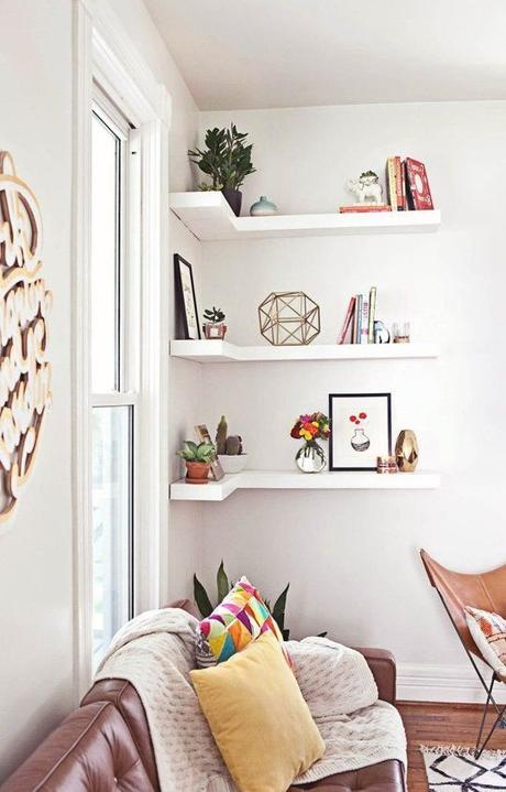 Corner Shelves: A Smart Small Space Solution All Over the House | Apartment Therapy: