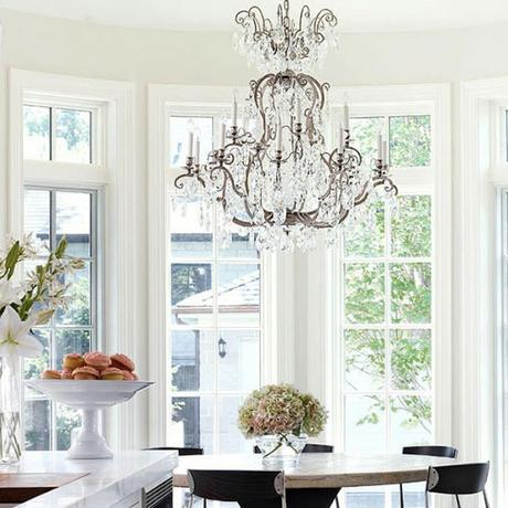 using vintage chandeliers in the kitchen