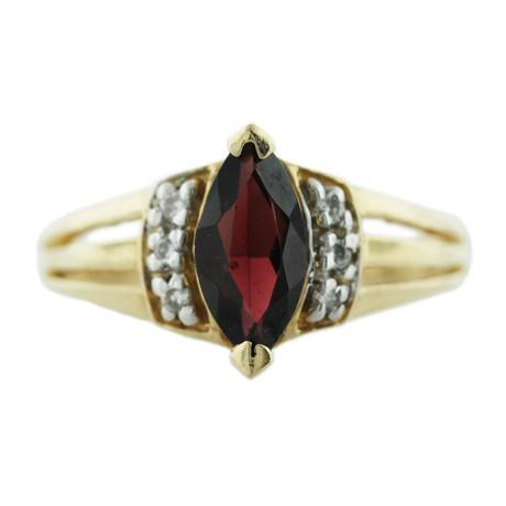 14k Yellow Gold Marquise Garnet Diamond Ring