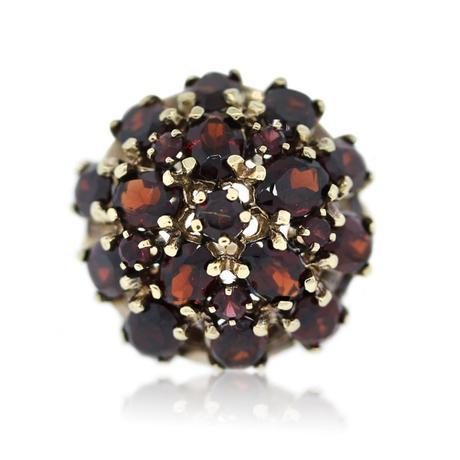 14k Yellow Gold Garnet Cluster Ring