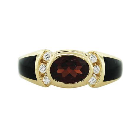 Kabana Garnet, Onyx and Diamond Ring