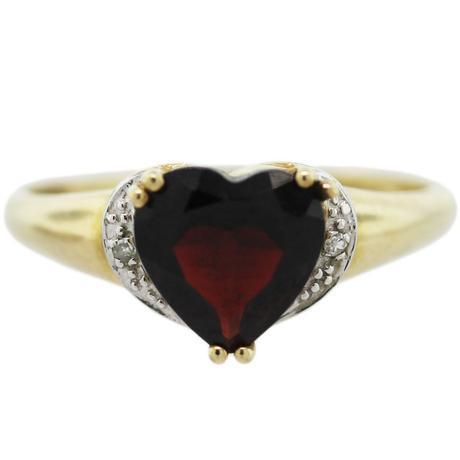 10K Yellow Gold Garnet and Diamond Heart Ring