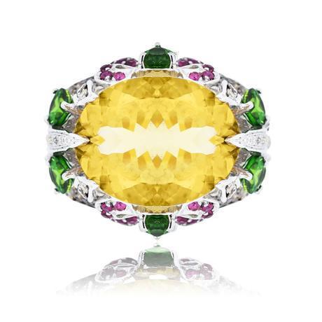 14k White Gold Diamond, Citrine & Green Garnet Ring