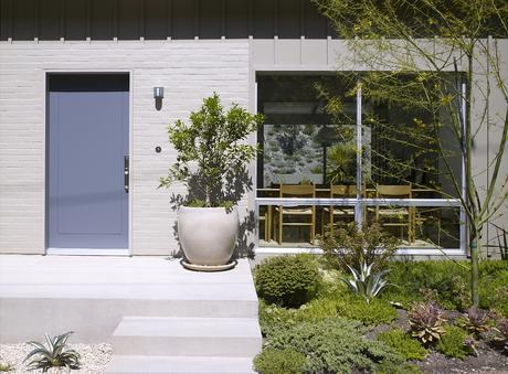 Facade and front yard with native plants of Los Angeles renovation by Montalba Architects.