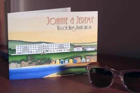 Large bifold invitation with illustration of Saunton Sands Hotel