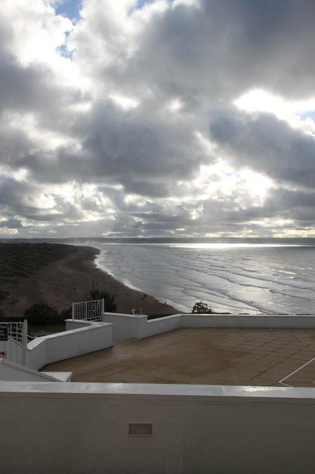 the view of the beach from Saunton Sands Hotel
