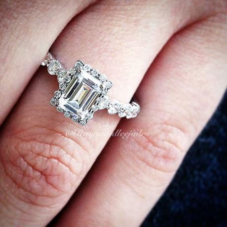 emerald cut halo engagement rings with band